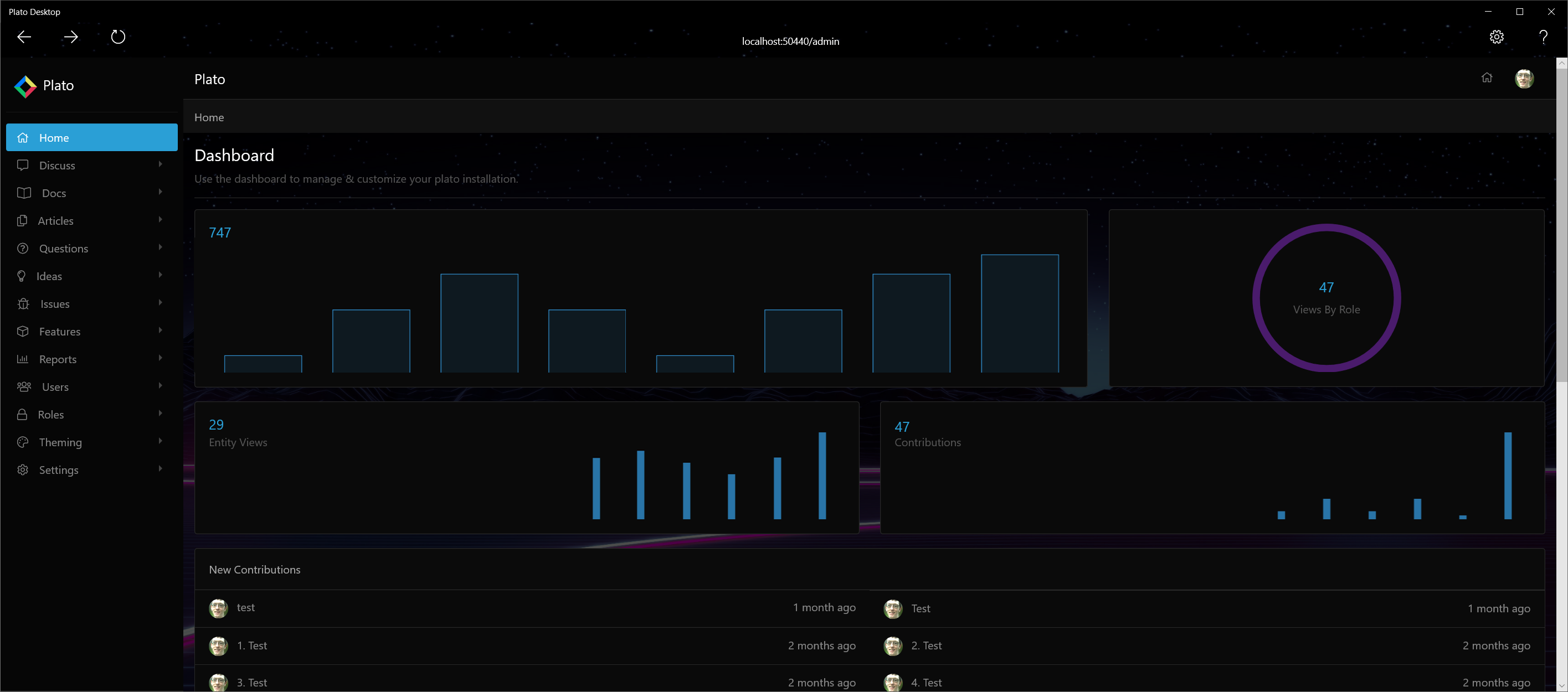 Plato Desktop Admin Dashboard